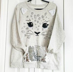 JUSTICE Cat Sweatshirt front Pocket size 24 plus